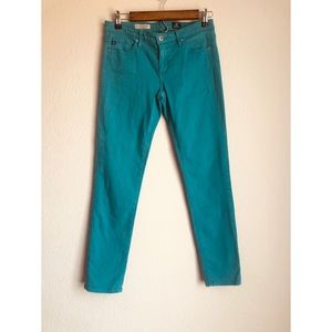 AG The Stevie Ankle Teal Green Jean Pants 27R
